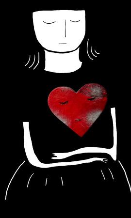 paper mache: Girl with sleeping heart