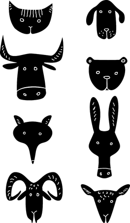 Funny animal heads  Vector