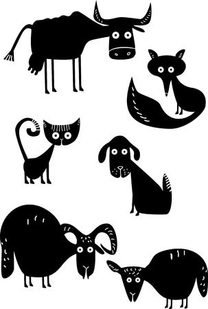面白い動物のシルエット