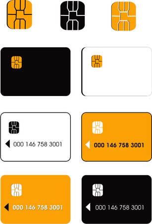 prepaid card: Vector credit cards and chips  Illustration