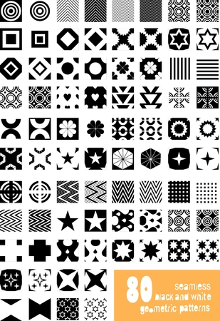 Set of seamless black and white geometric vector patterns Vector