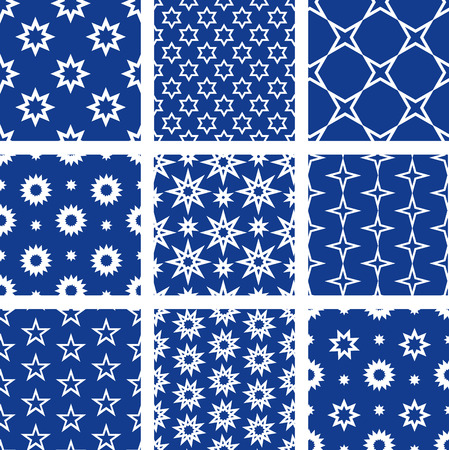 Set of 9 seamless patterns with stars Vector