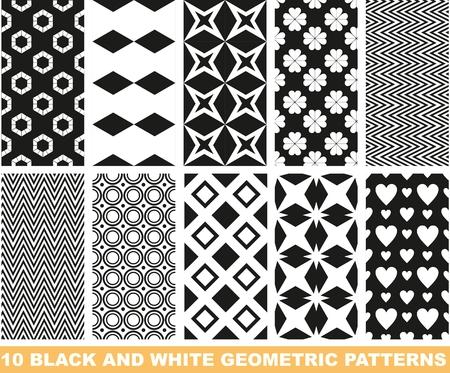 clover backdrop: Set of black and white seamless patterns Illustration