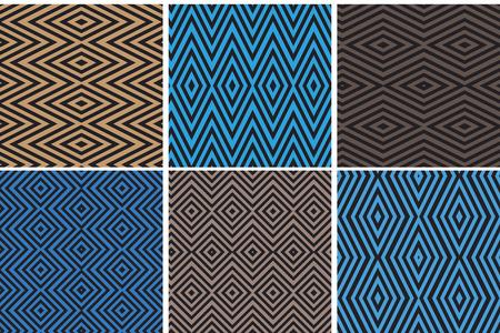 Set of seamless geometric patterns Illustration