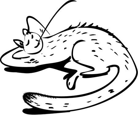 lie down:  Happy cat Illustration