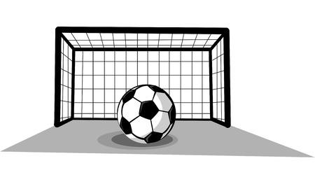 Voetbal doel met bal Stock Illustratie
