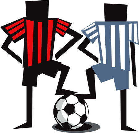 Two soccer rivals  Vector