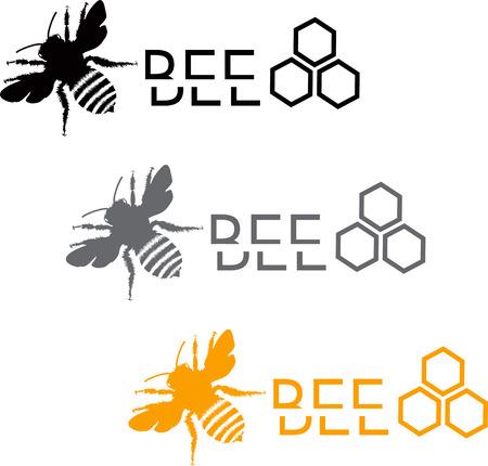 Set of stylized bee icons
