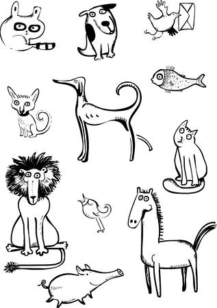 Set of funny animals  Set of funny animals  Vector