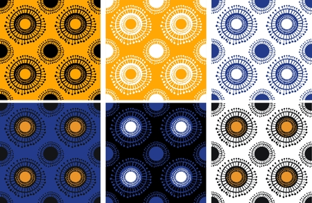 Set of seamless pattern with sun  Vector