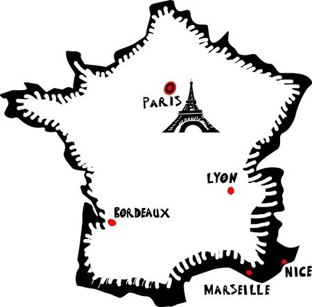 bordeaux region: France, vector map Illustration