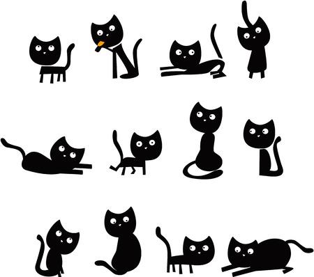 재미 있은 검은 고양이 일러스트