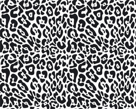 black and white panther: Vector animal fur seamless pattern Illustration