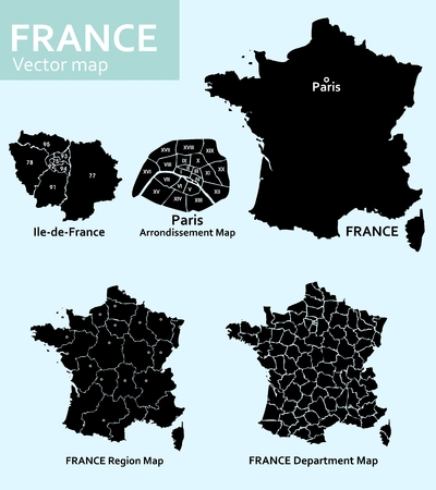 Maps of France with departments, regions and Paris Vector