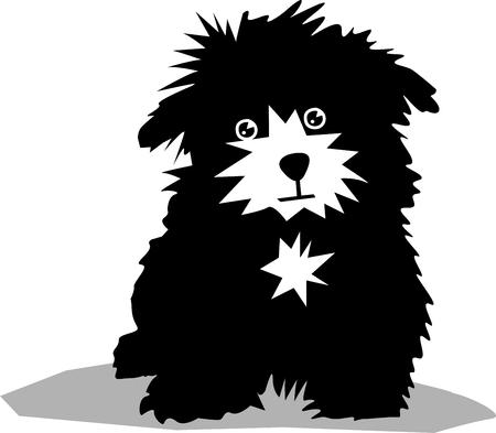 frise: Funny black dog  Illustration