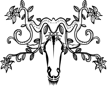 Decorative animal head with horns and flowers Vector