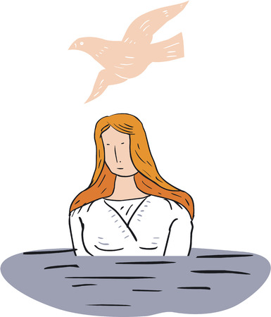 Illustration of  Woman Baptized in Water  Vector