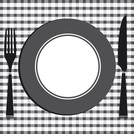 mesa de comedor: Mesa de comedor con cubierta de cuchillo, tenedor y plato