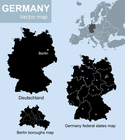 european map: Maps of Germany, federal states of Germany and Berlin with boroughs Illustration