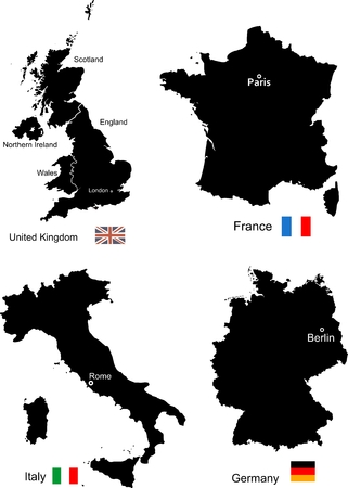 ireland cities: Maps of United Kingdom, France, Italy and Germany Illustration