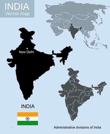 south asia: India vector map