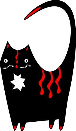 Funny black cat Vector