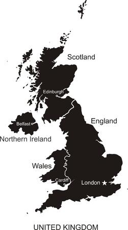 ireland cities: United Kingdom Vector Map