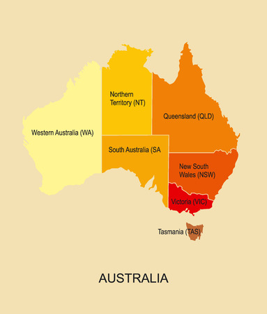 oceania: Australia map with regions