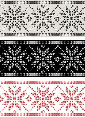 Set of horizontal seamless nordic pattern Vector