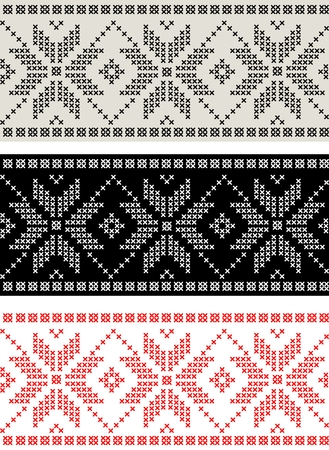isle: Set of horizontal seamless nordic pattern