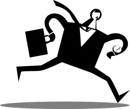 briefcase: Businessman running with a briefcase Illustration