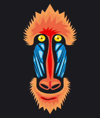 mandrill: Mandrill monkey head, vector icon