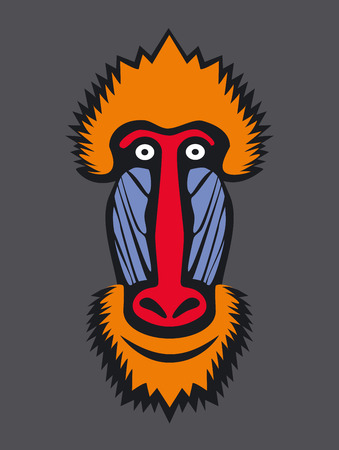 Mandrill monkey head, vector icon