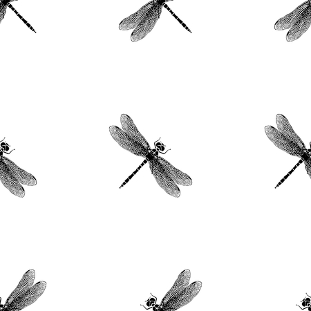 waterpolo: Dragonfly black and white vector pattern Illustration