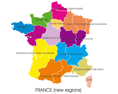 France vector map, new regions