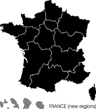 フランスは、新しい領域をマップします。  イラスト・ベクター素材