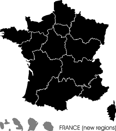 France map, new regions Vettoriali
