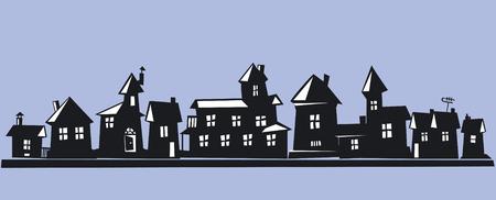 hilera: Casas en una fila  Vectores