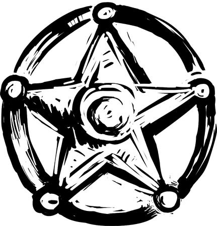 Sheriff badge star, vector illustration black and white