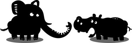 hippopotamus: divertido elefante y el hipopótamo Vectores