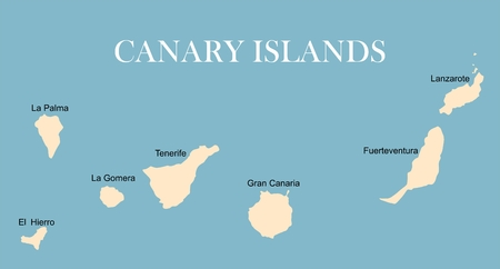 Mapa Politico De Canarias.Islas Canarias Mapa Politico Con Lanzarote Fuerteventura