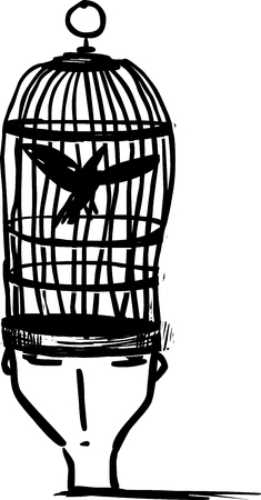 Head-person cage. Freedom of the mind concept