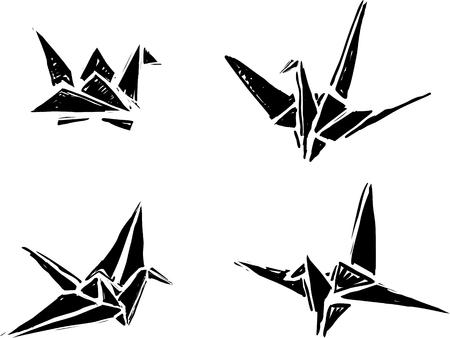 origami paper: Origami paper cranes Illustration