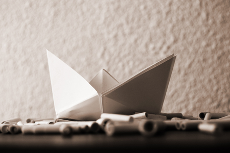 paper boat: White paper boat