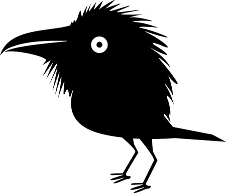 Funny black crow Illustration