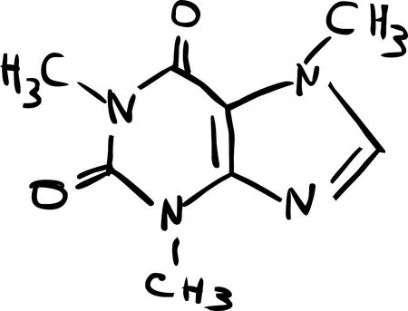 Molecular Structure of Caffeine Illustration