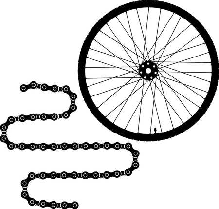 Bicycle wheel and chain vector icon Illustration