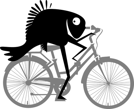 clipart wrinkles: Funny fish with bike.