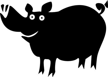 Funny pig on black presentation.