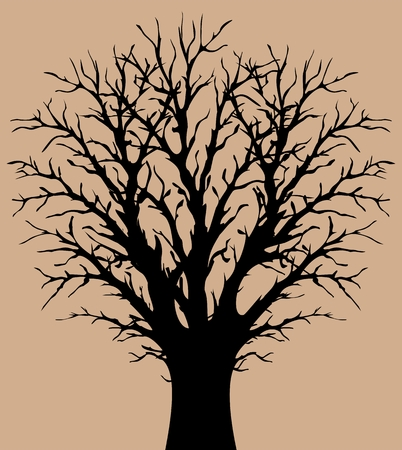 Silhouette of tree Vector illustration.